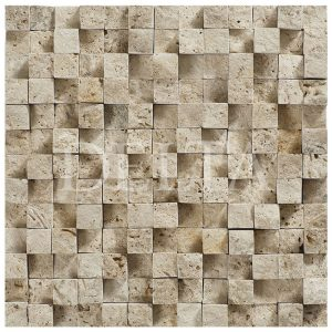 classic travertine cubic splitface mosaic